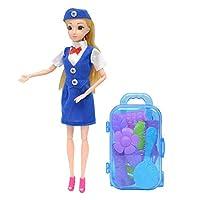 MagiDeal フライトアテンダントドール 11.5インチ 旅行かばん プレイハウス おもちゃキット ギフト 子供 女の子 ブルー ユニフォーム