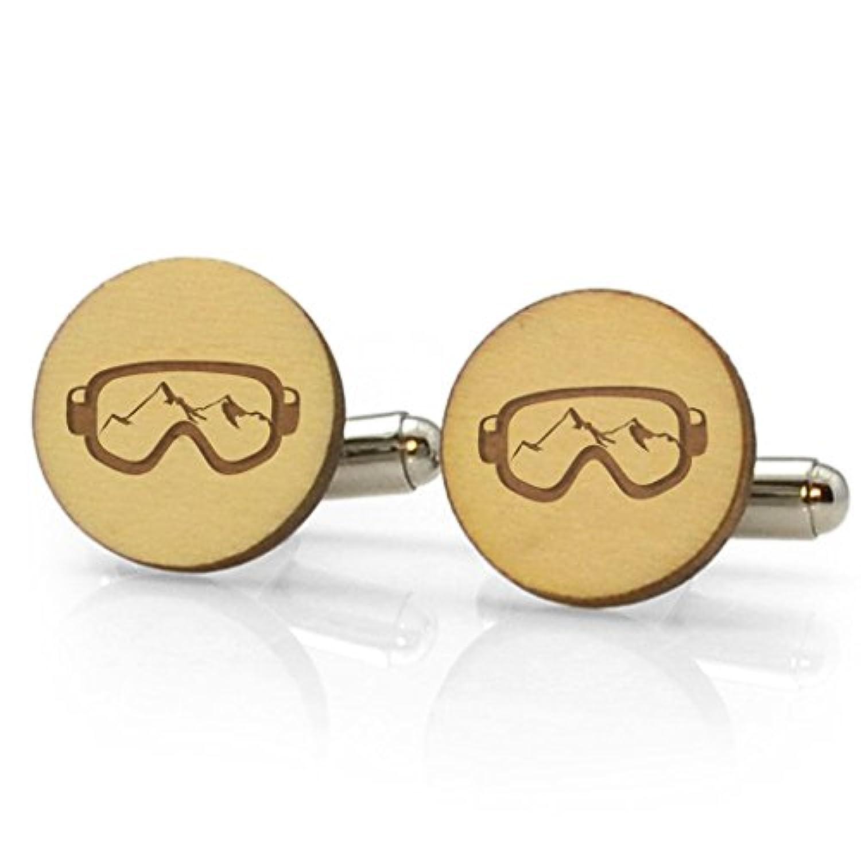 Goggleタン刻印木製Cufflinks |スキー&スノーボードCufflinks by Chalktalkスポーツ