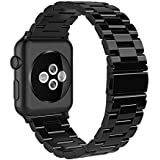 Simpeak Band Compatible with iWatch 38mm 40mm, Stainless Steel Wirstband Strap Replacement for iWatch Series 5 4 3 2 1, Bright Black