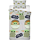 Baby Yoda Single Cover | Star Wars Mandalorian Child Yoda Duvet | Officially Licensed Grey Microfibre Reversible Two Sided Design
