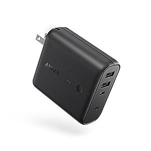 Anker PowerCore Fusion 5000 (5000mAh モバイルバッテリー搭載 USB急速充電器) 【PowerIQ搭載 / 折畳式プラグ搭載】 iPhone、iPad、Android各種対応(ブラック)