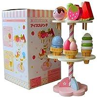 Interesting Discovery 木製 3層 イチゴアイスクリームスタンド 子供用 食べ物 ごっこ遊びセット 子供用 教育玩具