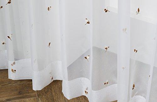 ユイツ 葉っぱ柄刺繍入りボイルレースカーテン ホワイト コーヒー色 100x198cm 2枚組