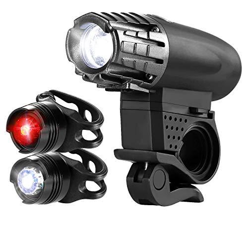 自転車ライト OUAMEI USB充電 2個テールライト付き...