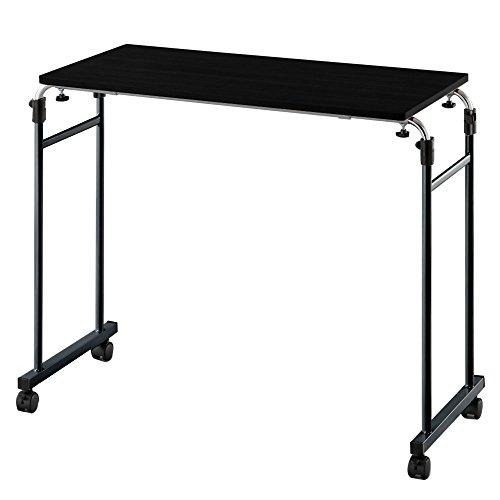 ベッドテーブル サイドテーブル ナイトテーブル 昇降式 介護テーブル 補助 木製 ロングタイプ ブラック