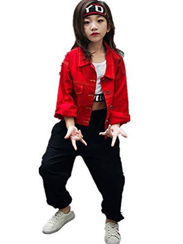 S5245子供上下セット3点 ダンスウェア ヒップホップ キッズ 女の子 白トップス タンクトップ+赤デニムジャケット+パンツ ダンス衣装 ジュニア 子供 身長110-180cm