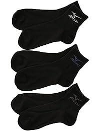 (ミズノ)MIZUNO メンズショート丈ソックス 紳士靴下 3足組 お買い得 強くて丈夫 スポーツ 定番 黒