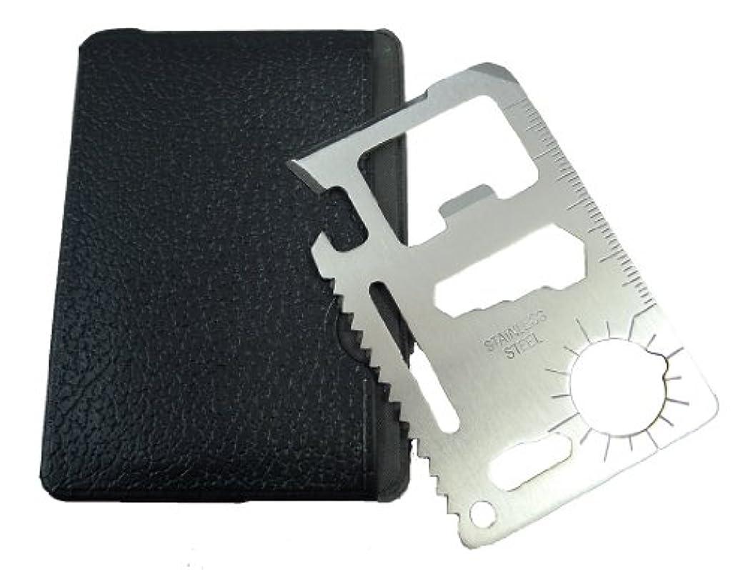 起業家構造的スマッシュ何でもこい!万能 カードタイプ ツール  レザー収納付 多機能 【 マルチツール 】便利な 工具 ナイフ スパナ ノコギリ マルチ T006-15