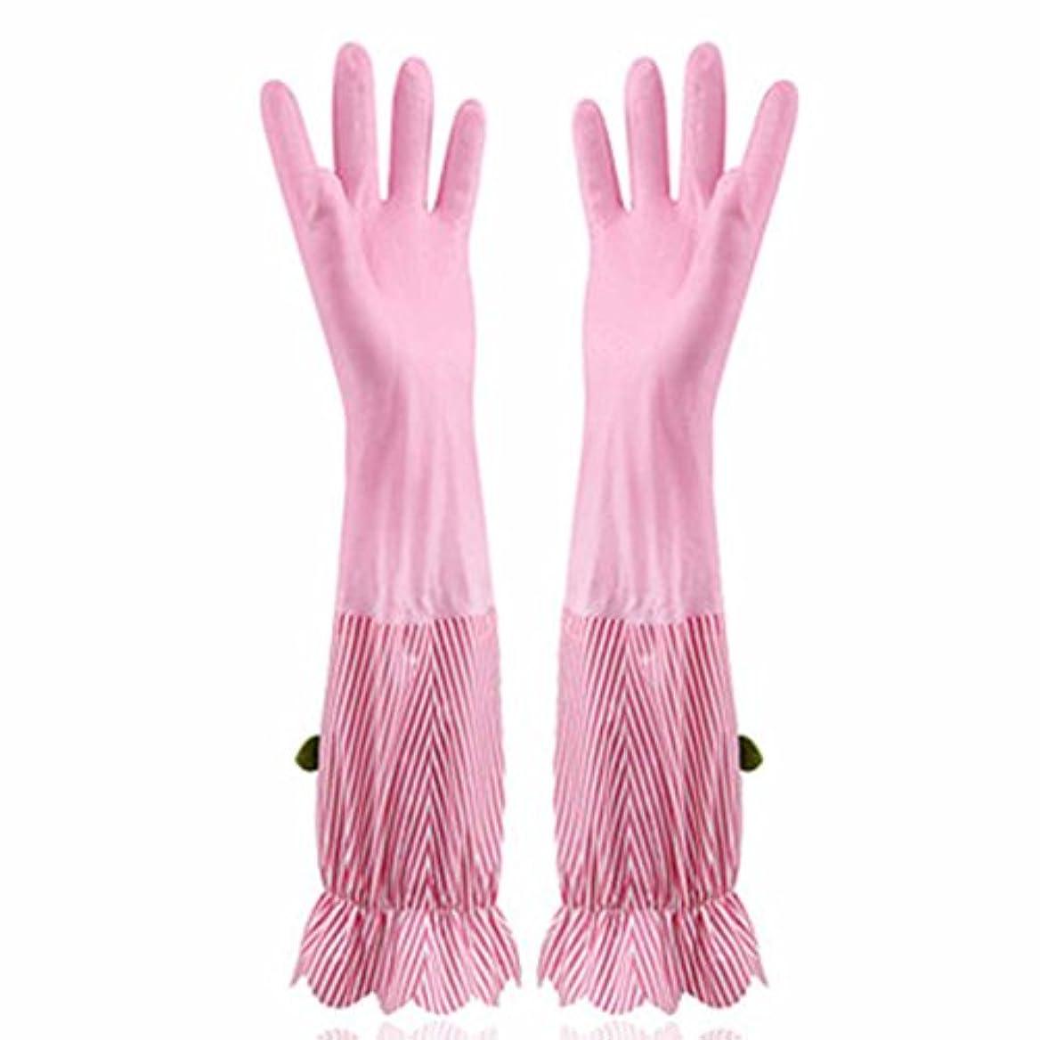 はがきダウン反発使い捨て手袋 プラスベルベット暖かい食器洗い手袋キッチン家庭防水耐久手袋 (Size : Four pairs)