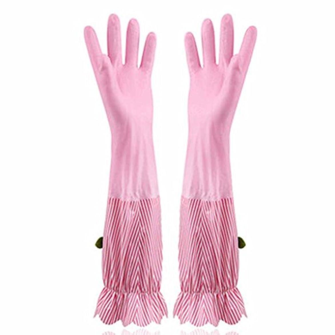 類人猿適性アセンブリ使い捨て手袋 プラスベルベット暖かい食器洗い手袋キッチン家庭防水耐久手袋 (Size : Four pairs)