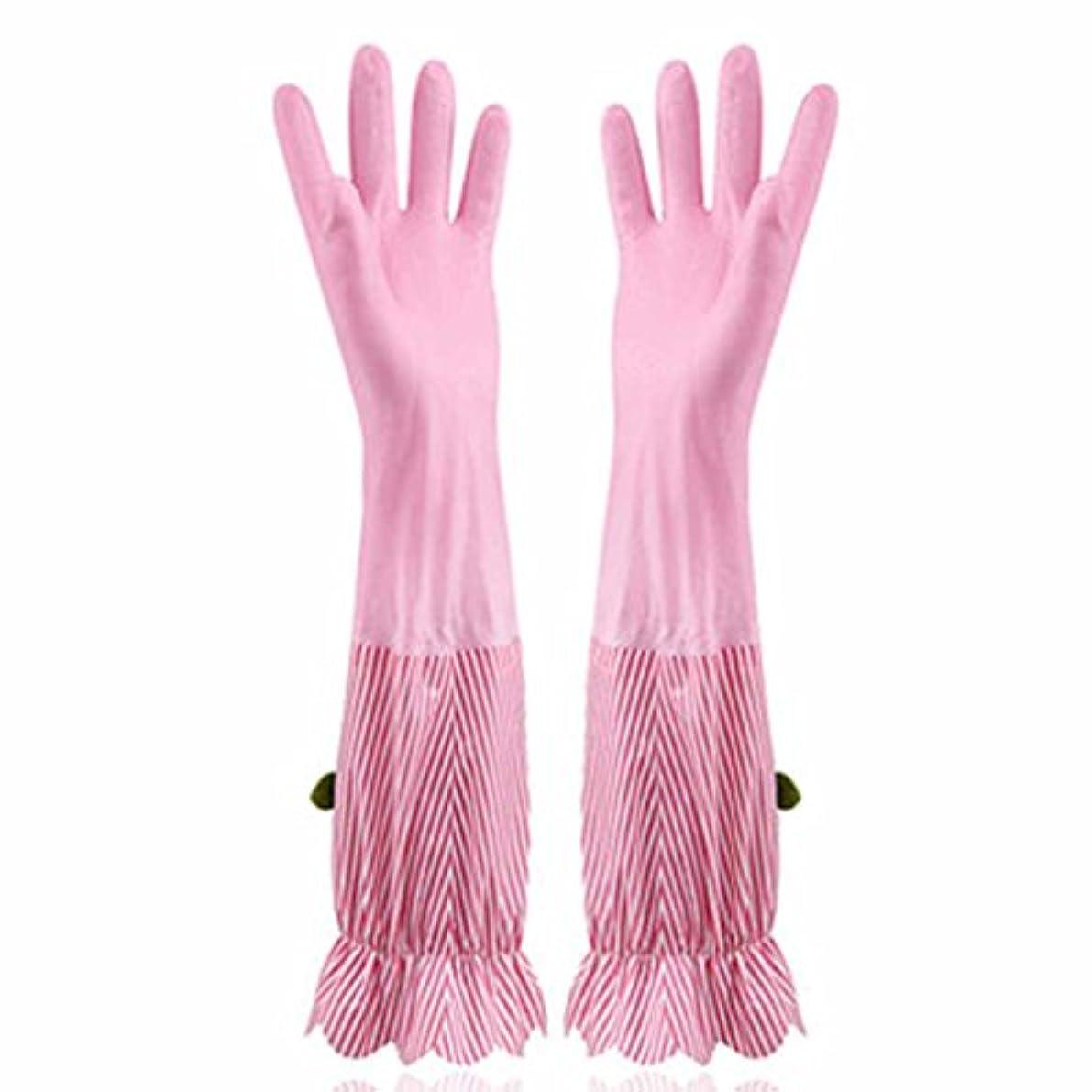 ゴネリルタンカーアイロニー使い捨て手袋 プラスベルベット暖かい食器洗い手袋キッチン家庭防水耐久手袋 (Size : Four pairs)