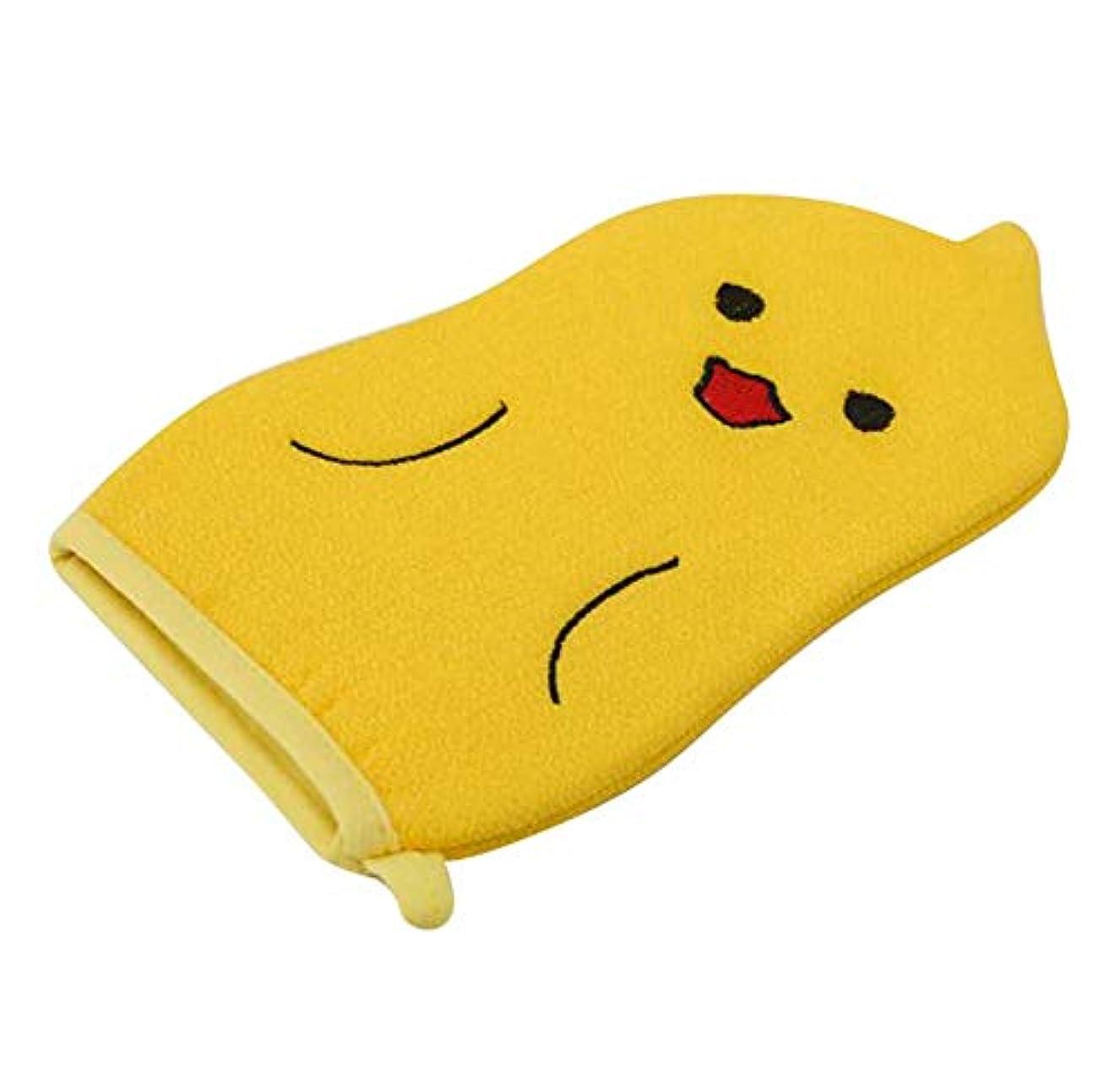 変な時制おんどり子供用バスタオル、赤ちゃんかわいい漫画角質除去バス手袋、C01