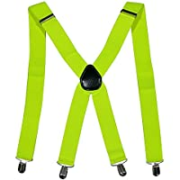 35mm X-Shape Unisex Extra Wide Adjustable Elastic Mens Suspenders Clip On Braces Trouser