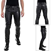 Mens Real Leather Black Quilted Pants with Zipper Genuine Leather Trouser