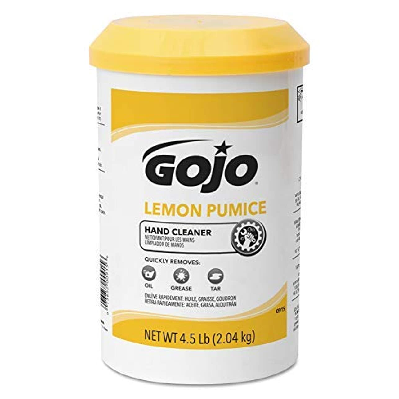 すり小説家学校教育GOJO Creme-Style Hand Cleaner with Pumice,Lemon Scent,4.5 Pounds Hand Cleaner Canister Refill for GOJO Creme-Style...