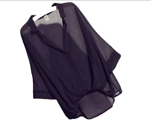 【Wild Cats】 レディース シャツ ブラウス 半袖 夏 xl トップス ファッション シフォン ホワイト ブラック Vネック おしゃれ かわいい 安い エコバッグ付き