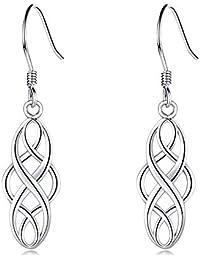 EVERU Celtic Knot Earrings Sterling Silver Irish Dangle Drop Earring Jewelry for Women