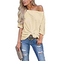 EZBELLE Womens Short Sleeve Off The Shoulder Tops Twist Knot T Shirt Tunic Blouse