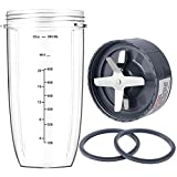 New Blender Cup and Blade Replacement Parts 32oz Cup and Extractor Blade and 2 Rubber Gaskets 4-Piece Compatible with NutriBullet High-Speed Blender/Mixer System 600W/900W Series