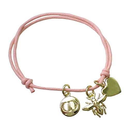 Dior ディオール ブレスレット アクセサリー ロゴ ハート蜂 BEE ビー ゴールド ピンク 桃 紐 ひも 春夏 バングル 腕輪
