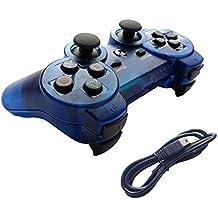 Aoityle PS3対応 ワイヤレスコントローラー 互換 USB ケーブル付属 (透明ブルー)