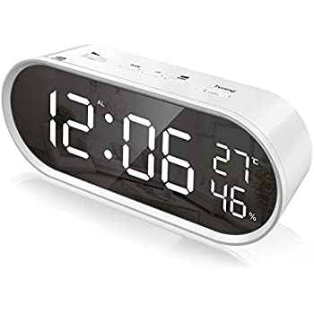 置き時計 led 目覚まし時計 大音量-ラージLED デジタル置時計 ダブルUSBポート付きled時計 置き時計 多機能 カレンダー 温度 湿度 時計 スヌーズ用のアラームタイマー 時計 目覚まし ベッドルームの飾り (気温 湿度計 电波UPDATE時計)