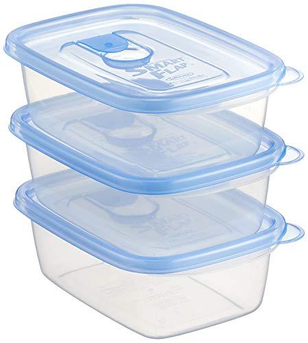 岩崎 抗菌タイプ 食品保存容器 スマートフラップ角型 ライトブルー M 610ml 3個組 A-041 LB