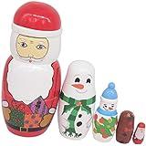 Baosity Set of 5pcs Wooden Russian Dolls Babushka Matryoshka Dolls Christmas Gift