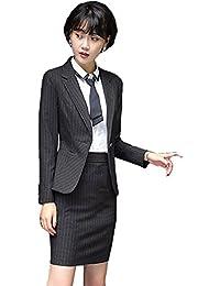 [美しいです] レディース スーツ コート セット 二点セット 折り襟 長袖 レジャー OL スリム 春 秋 就活 通勤 ビジネス用 面接 小さいサイズ ストライプ