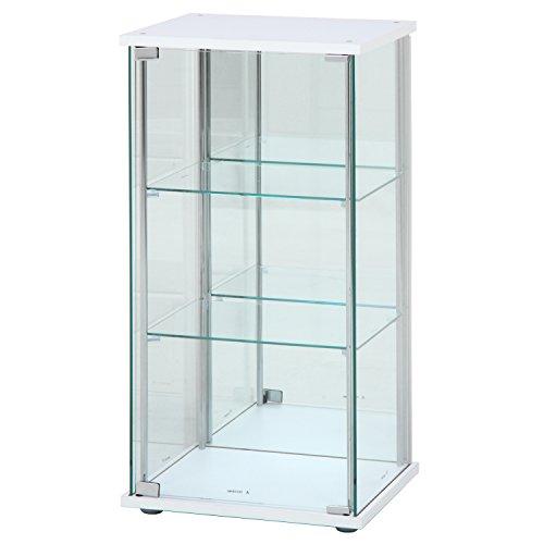 不二貿易 ガラスコレクションケース ホワイト 3段 幅42....