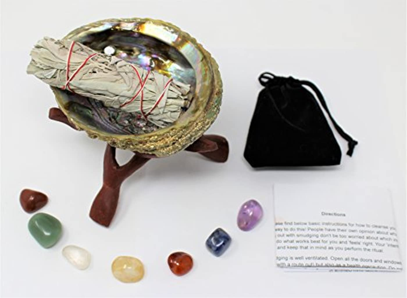 メーカーテンポ火山学者Abalone Shell、スタンド、セージSmudge Stick、7チャクラクリスタルフル方向