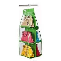 バッグ収納吊りラック 両面3段吊り下げ式 多機能 収納袋 ハンガー付き 透明 パッと見える 便利 人気 (グリーン)