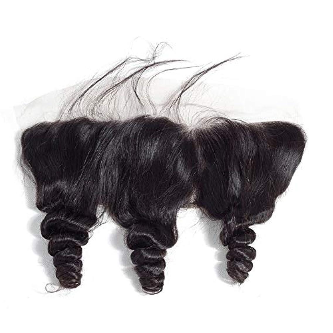 ジェスチャー過半数無声でWASAIO 無料パートレースフロンタル閉鎖ルーズウェーブヘアエクステンションクリップのシームレスな髪型ブラジルのバージン人間13「X4」トップリアルセンブランス (色 : 黒, サイズ : 18inch)