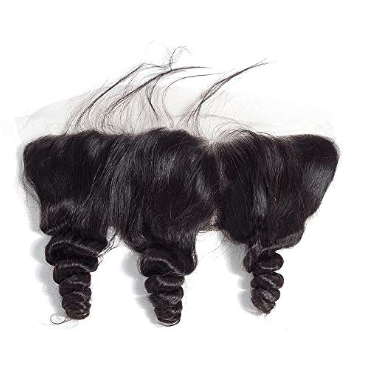 認知個人的に修正するWASAIO 無料パートレースフロンタル閉鎖ルーズウェーブヘアエクステンションクリップのシームレスな髪型ブラジルのバージン人間13「X4」トップリアルセンブランス (色 : 黒, サイズ : 18inch)