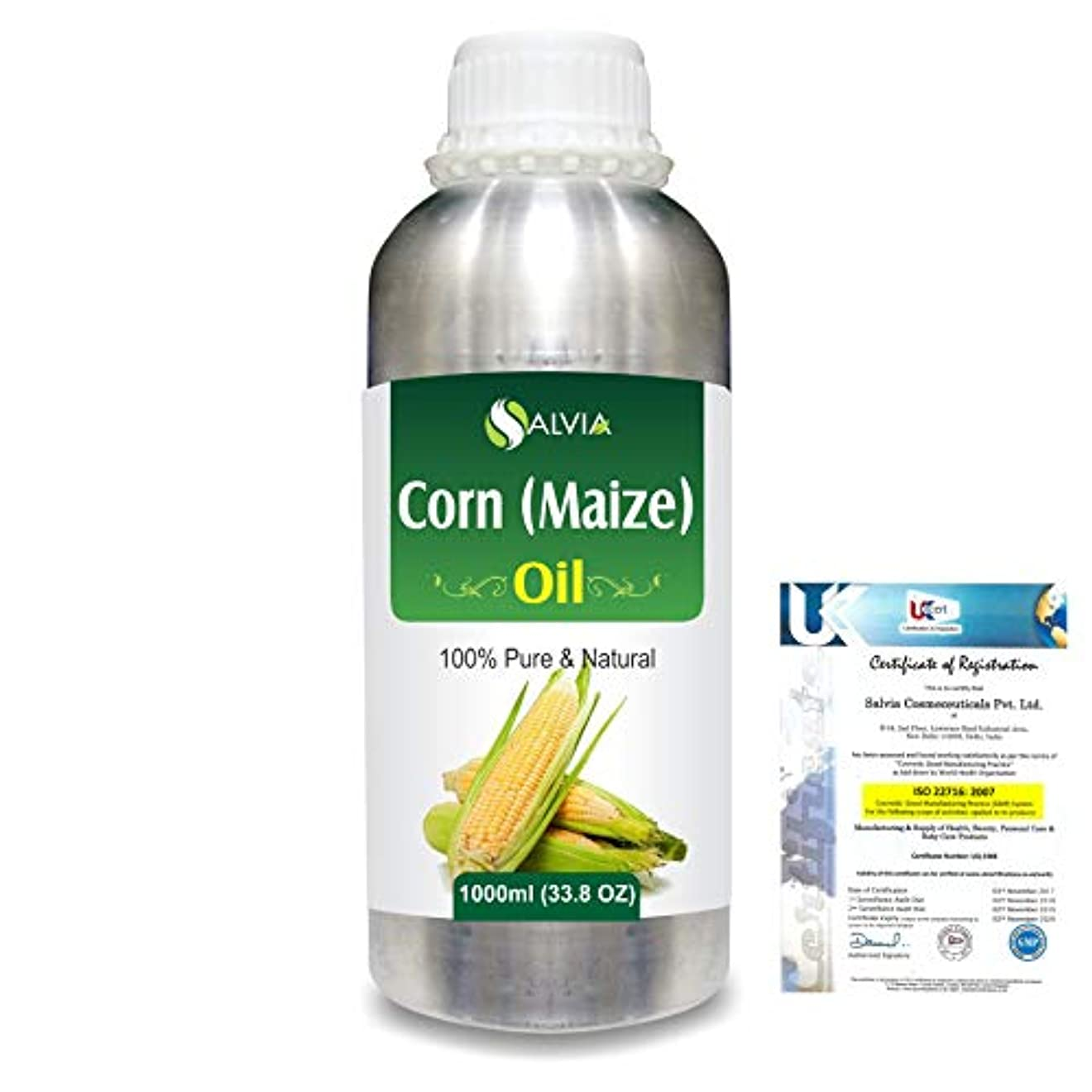 Corn (Maize) (Zea mays)100% Natural Pure Carrier Oil 1000ml/33.8fl.oz.