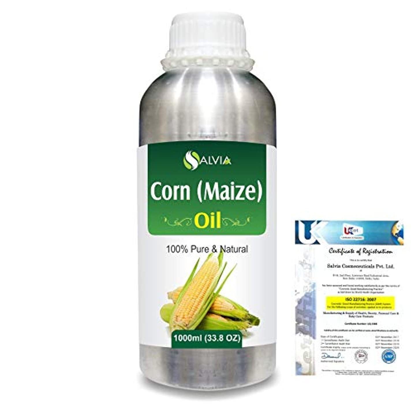 に沿って好色な合計Corn (Maize) (Zea mays)100% Natural Pure Carrier Oil 1000ml/33.8fl.oz.