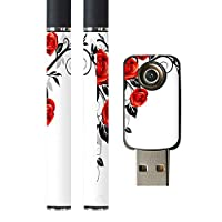 igsticker プルームテック Ploom TECH 専用スキンシール バッテリー スティック USB充電器 カバー ケース 保護 フィルム ステッカー スマコレ 009125 花 フラワー 赤