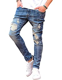 ルービック(RUBIK) デニムパンツ メンズ ジーンズ ダメージ スキニー スウェットデニム カットデニム クラッシュ