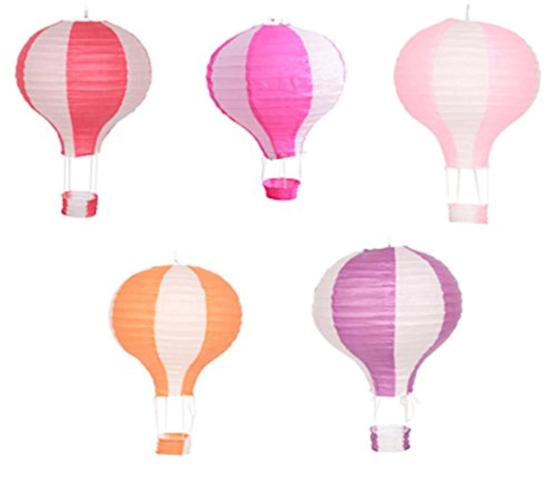 tokimeki19 ちょうちん 飾り 用 紙 提灯 led 祭り 熱気球型 (直径40cmx高さ50cm A)