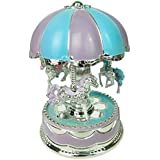 PQZATX Merry-Go-Round Carousel Music Box Toy Swivel Glowing Carousel Horse Electronic Music Box Wedding Birthday Gifts Home Decor,Blue