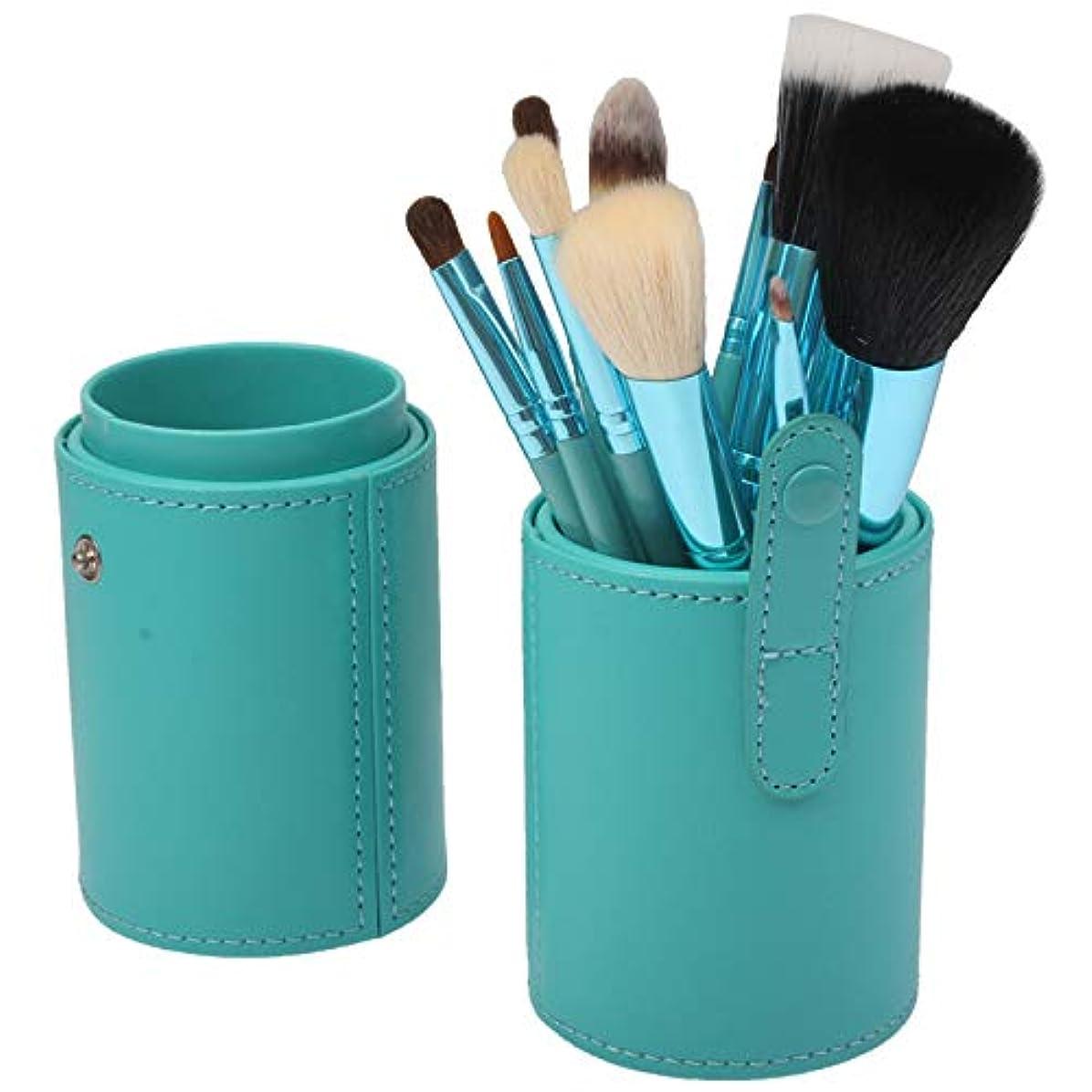真空可動純粋なMEI1JIA キャリングケースPUレザーカップとQUELLIA 12 PCSプロフェッショナルメイクアップブラシセット美容キットの化粧品(グリーン)