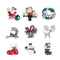 SUPVOX 9ピースクリスマスブローチラインストーンサンタベルクリスマスエナメルピンホリデーブレストピン装飾ジュエリーギフト