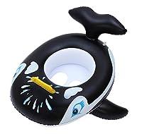 (ラボーグ) La Vogue 浮き輪 子供用 ベビーボート クジラ 足入れ フロート 可愛い スイムリング 水泳用品 ハンドル付 プール 水遊び ブラック