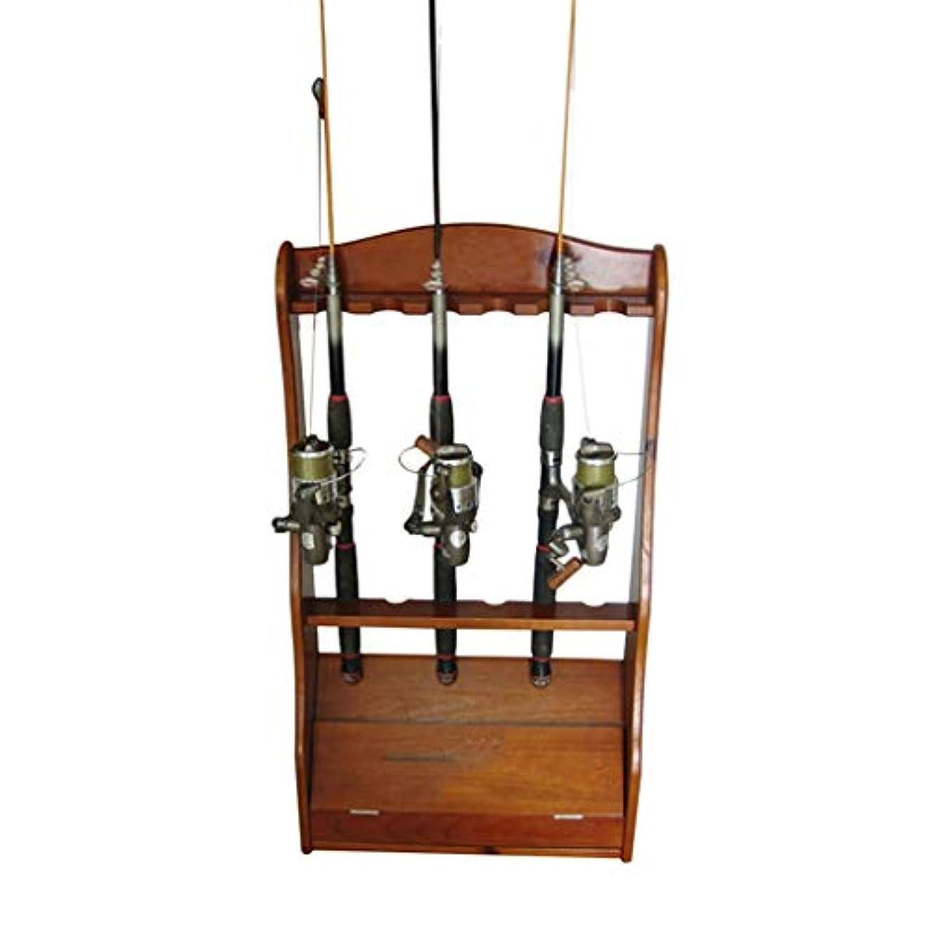 メイト高めるただやる釣り竿陳列台/ソリッドウッド製釣り竿棚/収納棚/ラック/プールキュー/家庭用釣り道具 ロッドスタンド (Color : Brown, Size : 43.5*16*80cm)
