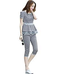春夏 パンツスーツ ツーピース  トリムカラー4色 ラウンドネック 半袖 スキニーパンツ 七分丈 ウエストペプラム クマのぬいぐるみ付き K-3554