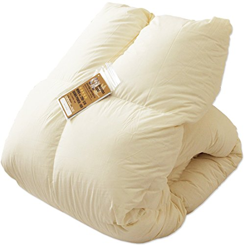 タンスのゲン 日本製 羽毛布団 シングル ホワイトダックダウン93% かさ高165mm(400dp)以上 7年保証 新技術アレルGプラス 消臭抗菌 国内パワーアップ加工 ベージュ 10119003 09 -