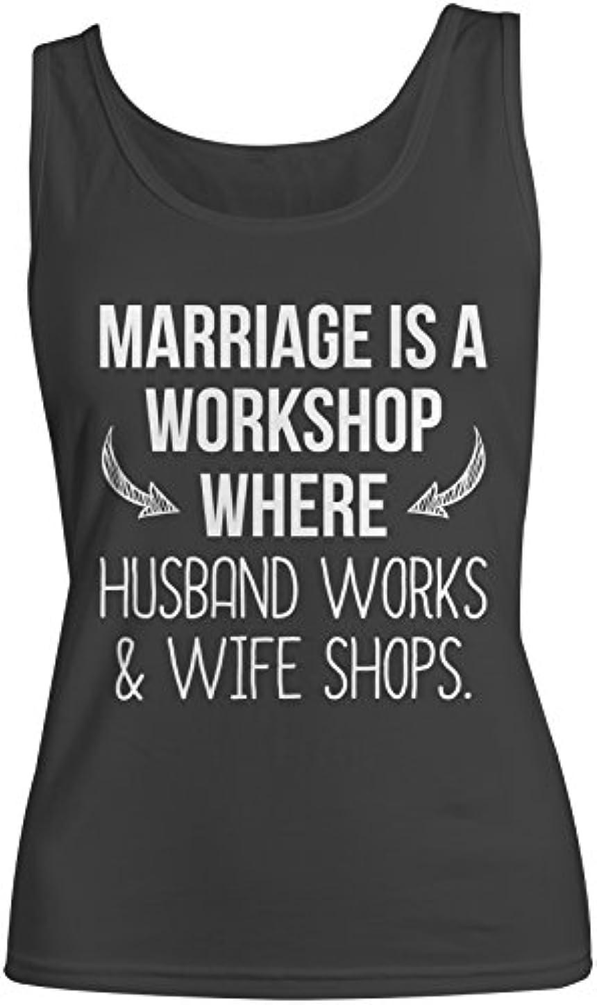 凍る暫定セーブMarriage Is A Workshop おかしいです 皮肉な Husband Wife レディース Tank Top Sleeveless Shirt