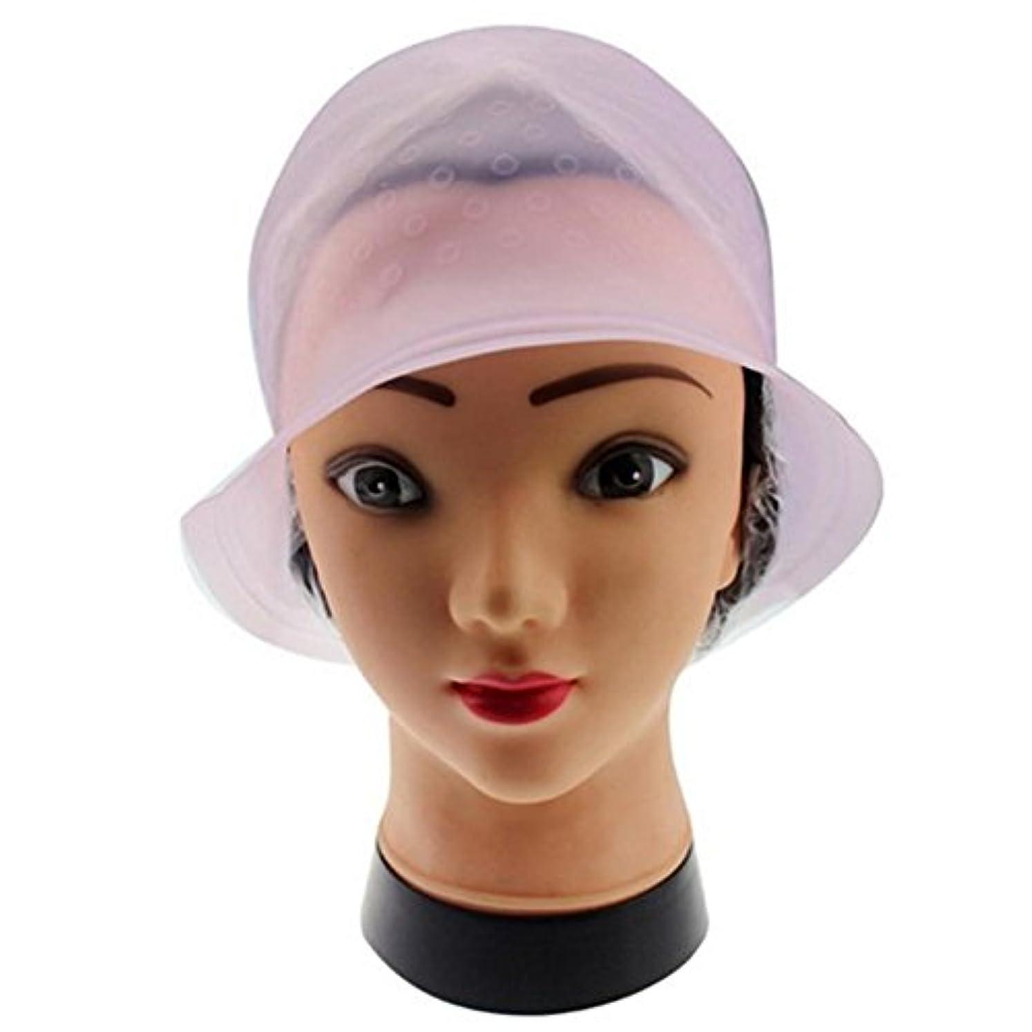 娘熟読するピンポイント染料フロスティングキャップ、再利用可能なシリコーンヘアカラーリングキャップ、髪を強調するキャップサロンヘアカラーリング染料キャップヘアスタイリングツール髪を染めるための針(紫の)