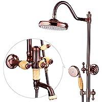 シャワー蛇口セット - フル銅ローズゴールドシャワーとハンドヘルドフルレインシャワーセット、壁掛けシャワーヘッドシステム、調節可能スライダー