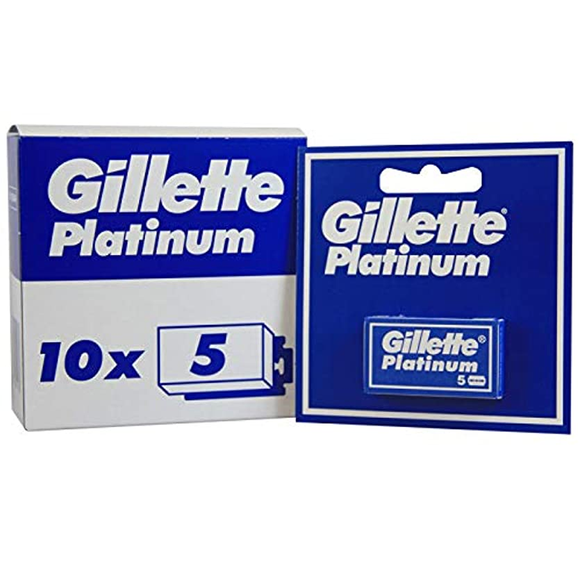 触覚バッテリー五十Gillette Platinum [プレミアムホワイトボックス版!] ジレット プラチナ 両刃替刃 50個入り (5*10) [海外直送品] [並行輸入品]